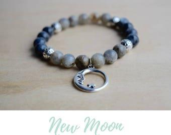 Labradorite Bracelet, Larvikite Bracelet / moon calendar, lunar phases, trending now, signature bracelet, xmas gifts for mom, positive vibes