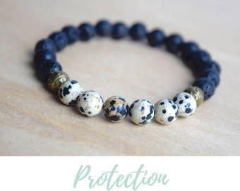 Protective Gemstones / grounding jewelry, protective gemstone, diffuser bracelets, lava jewelry gift, jasper yoga bracelet, dalmatian jasper