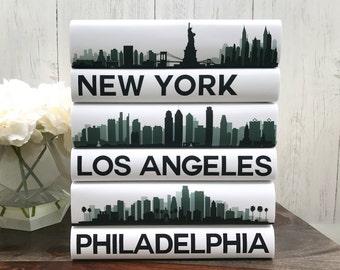 Coffee Table Books, Custom Cities Book Set, City Skyline Decorative Books, Book Decor, New York, Los Angeles, Philadelphia, Housewarming