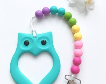 Baby Teething Pacifier Clip Set, Owl Teether & Paci Clip, Pastel Silicone Teether, Pacifier Holder, Silicone Teether