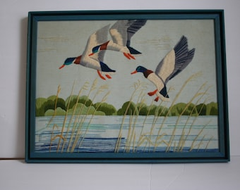 MCM Duck Crewel Embroidery on lake, in blue painted frame