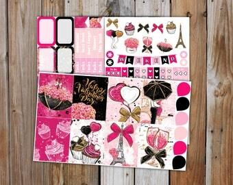 Valentines Cheer in Paris Planner Sticker MINI Kit   Valentines Planner Stickers Kit for use with Erin Condren Life Planner