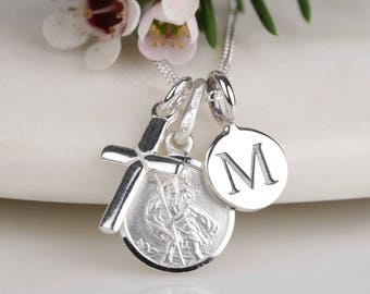 Personalised Solid Silver St. Christopher and Silver Cross Necklace