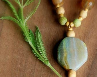 Boho Necklace, Glass and Stone Beaded Necklace