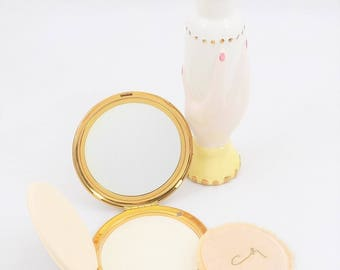 Coty Air Spun Compact, Coty Gold Compact, Loose Powder Compact with Puff