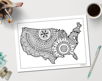 Usa Map Printable Adult Coloring Page Inspired By Zentangle Patterns Stress Relieving Gifts For All