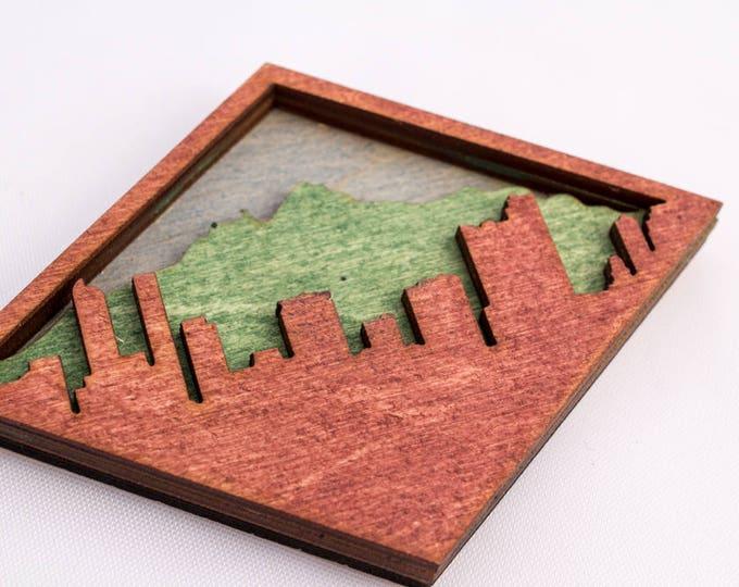 Denver Skyline Wood Magent