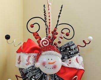 Snowman Christmas Tree Topper, Christmas Tree Topper Bow, Santa wreath bow, Christmas Decoration, Christmas centerpiece