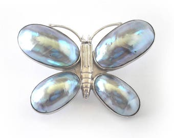 Vintage Cabochon Mabe Pearl Butterfly Pin/Pendant with Sterling Silver