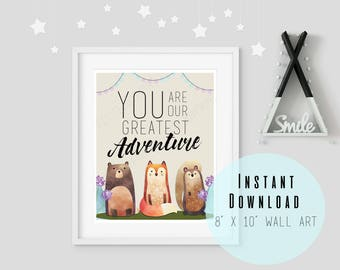 """8"""" x 10"""" BLACK You Are Our Greatest Adventure Nursery Wall Art Printable - Kids Room Decor - Woodland Animals - Instant Download"""