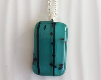 Sprinkle striped pendant necklace turquoise and black