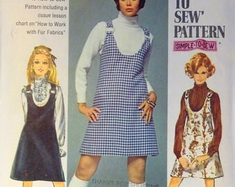 """Simplicity 8414 size 5/6 junior teen Jumper pattern in 2 lengths with """"How To Work With Fur Fabrics"""" lesson. Open U neckline, back zip"""
