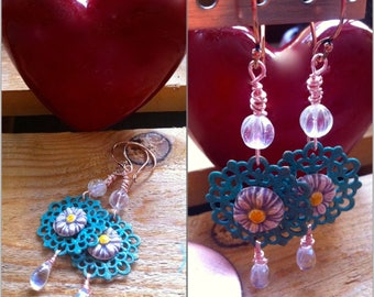 romantic hanging earrings with Crystal beads, patinated print and ceramic flower
