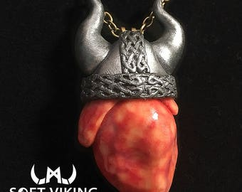 Viking Heart / Anatomical Heart Pendant One of a Kind Handmade