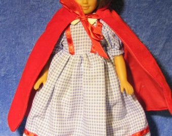 Pretty 1995 Vintage Unimax Toys Little Red Riding Hood Doll (Red Velvet Cape)