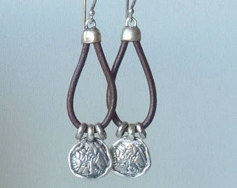 Sterling Silver Leather Dangle Earrings Israel Sterling Leather Loop Handcrafted Abstract Pierced Earrings Modern 925 Hebrew Jewelry 925