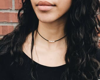 Sterling silver beaded chokers. 24k gold electroplated. Sterling silver electroplated. Leather choker. Minimalist Necklace.