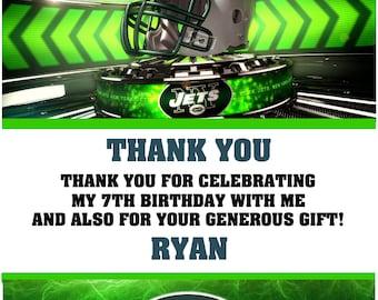 Printable Football Birthday NY Jets Thank you cards Notes