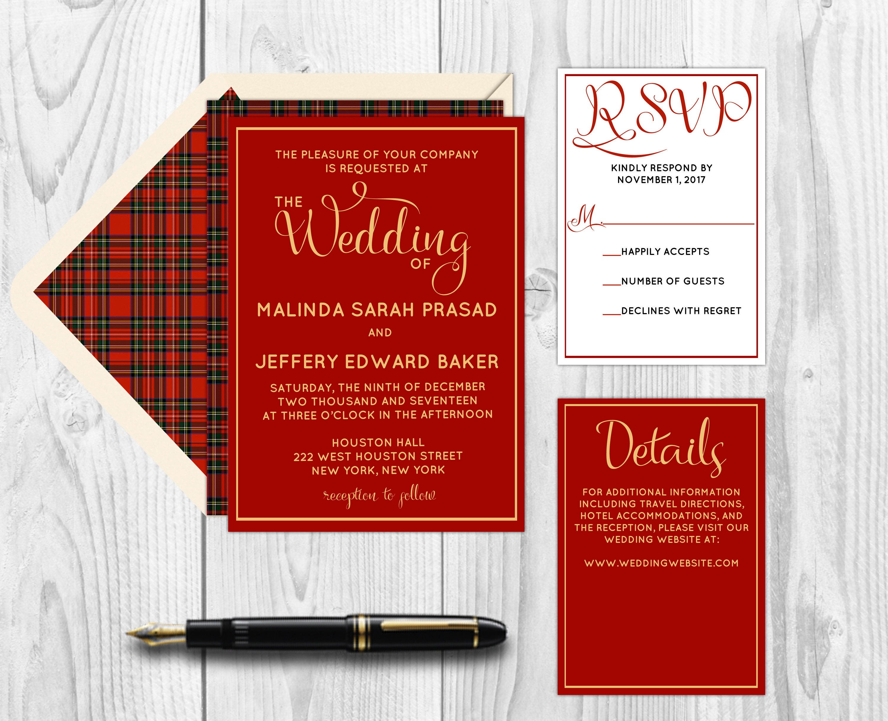 Burgundy Plaid Winter Wedding Invitations - Invitation Kit - PDF ...