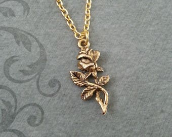 Rose Necklace, SMALL Rose Jewelry, Gold Necklace, Valentine's Day Jewelry, Gold Rose Pendant Necklace, Rose Charm Necklace, Valentine's Gift