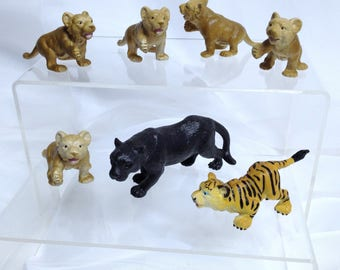 Schleich Cub Models Vintage Schleich Models Tiger Black Panther Cougar Cubs Diorama Animal Models Handsized Teaching Model Animals