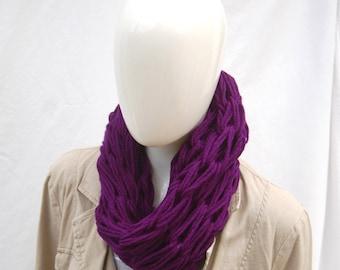 Knit infinity scarf, purple cowl, handknit cowl, ladies scarf cowl