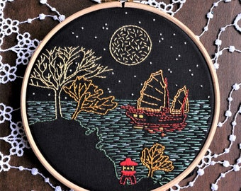 "Embroidery kit - Embroidery pattern - embroidery hoop art - ""Travel"" - hand embroidery kit"