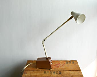 Small Brown and Cream Metal Desk Lamp, Retro Brown Adjustable Desk Lamp, Task Lighting, Folding Lamp, Articulated Lamp