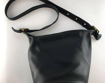 Vintage Black Coach Bucket Bag   Large Leather Crossbody Bag