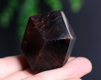 Almandine Garnet Smooth Polished Crystal Mineral Specimen, Red Garnet Gemstone Large Crystal J887