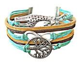 Giraffe Bracelet, Tree of Life Bracelet, Giraffe Jewelry, Giraffe Gift, Infinity Bracelet, Animal Bracelet, Tree Jewelry, Gift for Women