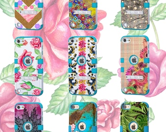 iPod Touch 5th Generation Daisy Floral New Cover,6th Gen Vintage Loaded Roses Hybrid Protective Case With Stand,Wood Texture,Leaves Nature