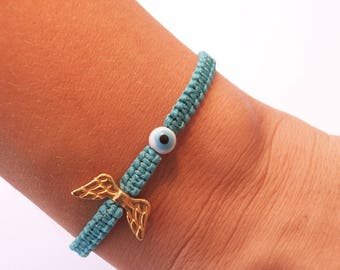 Angel wing bracelet - Evil eye bead, wing charm, Christmas gift, lucky charm, New Years charm, adjustable!