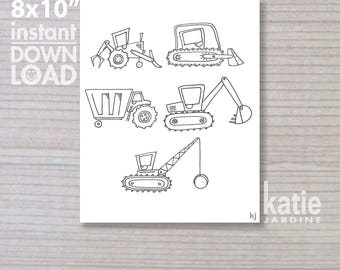 """colouring in - printable colouring in - downloadable - instant colouring in - diggers - dump truck -  8x10"""""""