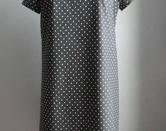 Dotty Charcoal Cotton Dress