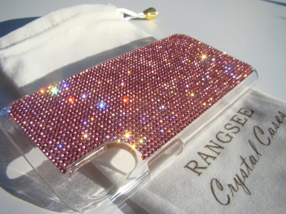 iPhone X Pink Rose Rhinestone Crystals on Transparent Clear iPhone X Case. Velvet Pouch Included,