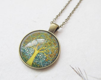 Tree necklace, tree of life necklace, yoga necklace, bronze necklace