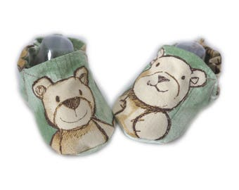 Slippers shoes soft fabric cotton 3/6 months baby elastic green bears