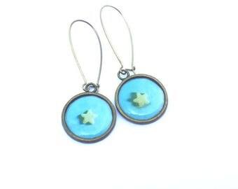 Earrings long earrings, women earrings, bronze and brass, dangle turquoise blue and yellow