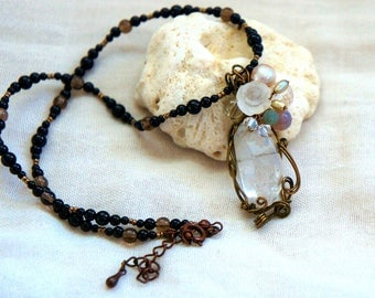 Handmade Pendant Top and Necklace < Pendant > Black tourmaline, Crystal, freshwater pearl and Swarovski < Necklace > Onyx, smoky Quartz