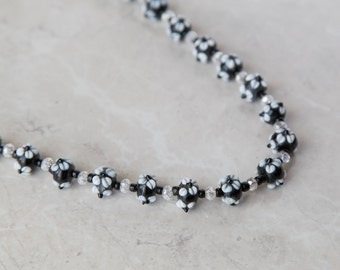 Black and White Flowers Beaded 2 Piece Jewelry Set - Necklace and Earrings