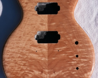 Bookmatched Maple and One-Piece Cherry Double-Cutaway Guitar Body