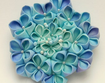 Ajisai, Hydrangea tsumami zaiku hairclip and brooch, handdyed cotton, japanese style tsumami kanzashi, June fabric flower.