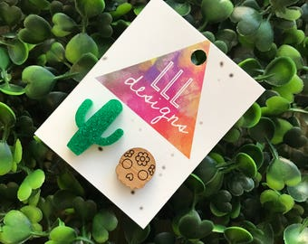 Miss Match Glitter Cactus and Bamboo Sugar Skull Stud Earrings. Fun and Quirky mix match stytle handmade Earrings. Be Bold - Be YOU!!!!!