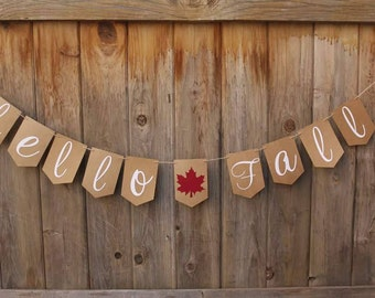 Fall Banner - Hello Fall- Handmade - Decor