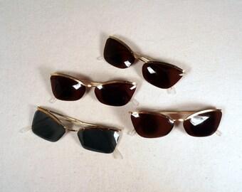 fabulous vintage lot of 4 sunglasses lunettes eyeglasses 1950 carved frame france rare