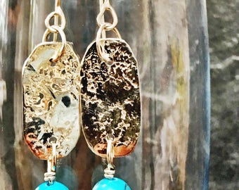 Handcrafted silver and matt turquoise earrings