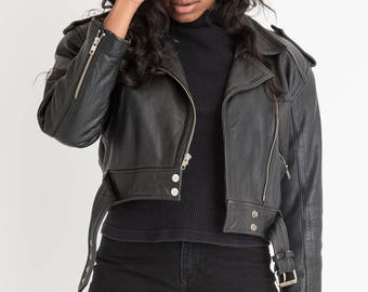 80s Black Crop Leather Motorcycle Jacket L