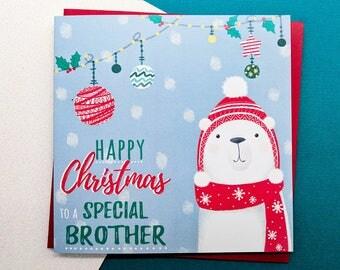 BROTHER Christmas Card - Polar Bear Christmas Card   Handmade Christmas Cards, Brother Cards, Christmas Card for Brother, Cards for Him