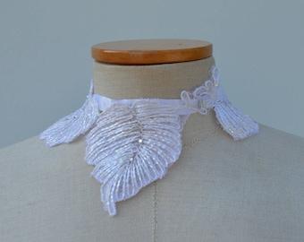 Lace white, crew neck wedding white lace, collar wedding white embroidered cocker, cocker white beaded necklace Bridal, white necklace